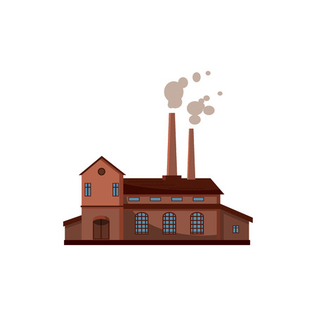 Factory building icon, cartoon style
