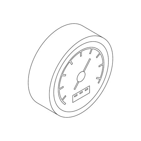 Speedometer icon, isometric 3d style