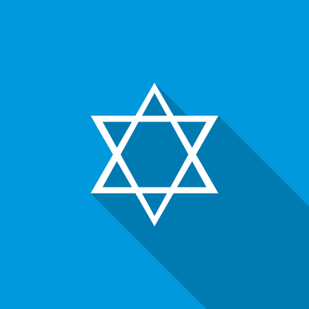 Star of David icon in flat style icon in flat style on a blue background Stock Photo