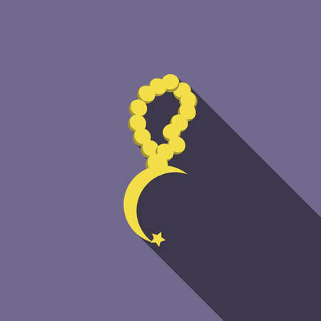 Rosary with a crescent icon in flat style on a violet background
