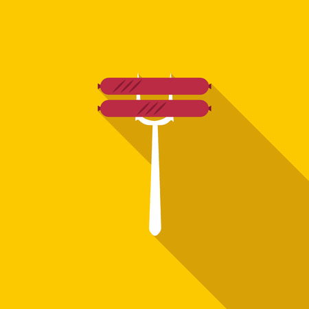 Sausage on fork icon in flat style with long shadow Reklamní fotografie
