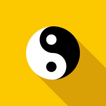 Ying yang icon in flat style on a yellow background Stock Photo