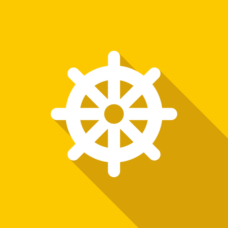 Wheel of Dharma icon in flat style on a yellow background Stock Photo