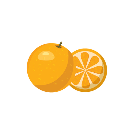 Mandarin icon in cartoon style on a white background