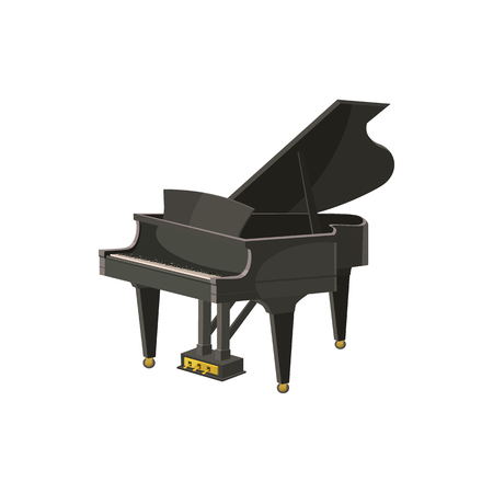 Black grand piano icon in cartoon style on a white background