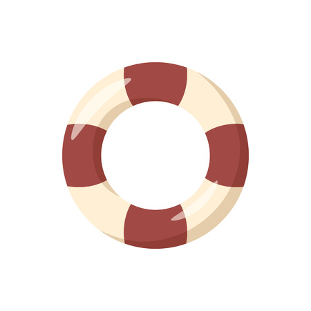 Striped lifebuoy icon in cartoon style on a white background