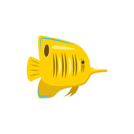Yellow fish icon in cartoon style on a white background Stock Photo - 105780372