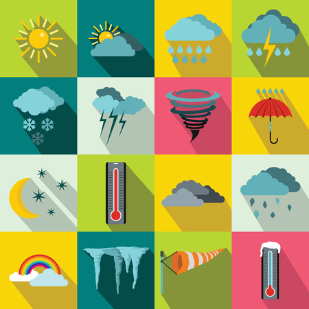 Weather set icons in flat style for any design
