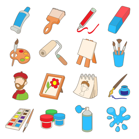 Art icons set in cartoon style isolated on white background