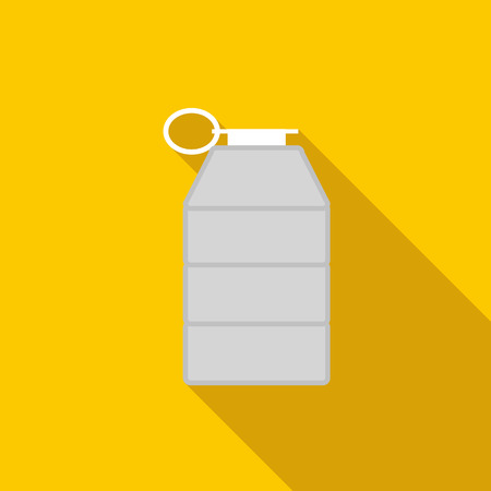 Grey grenade icon in flat style on a yellow background Stock Photo