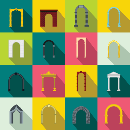 Arch set icons in flat style for any design Archivio Fotografico