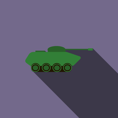 Tank icon in flat style on a violet background