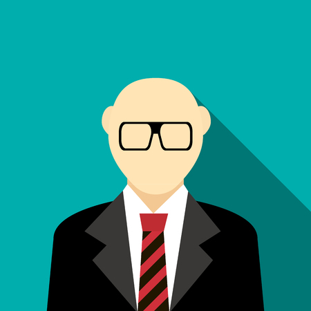 Bald man with a beard and glasses in suit icon in flat style on a turquoise background Stockfoto