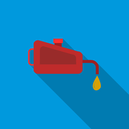 Red oiler icon in flat style on a blue background
