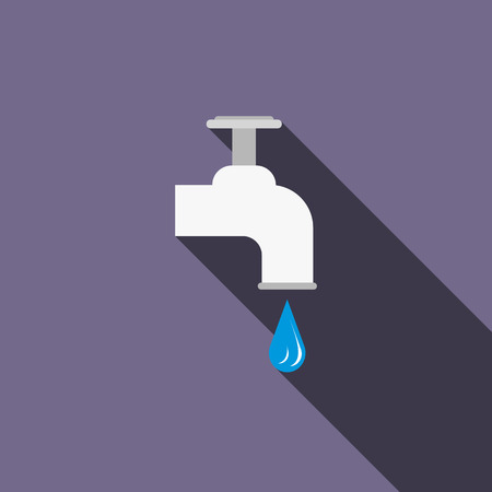 Dripping tap with drop icon in flat style on a violet background