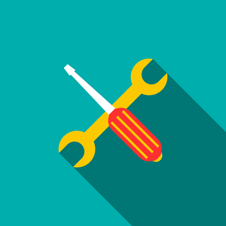 Screwdriver and wrench icon in flat style on a turquoise background