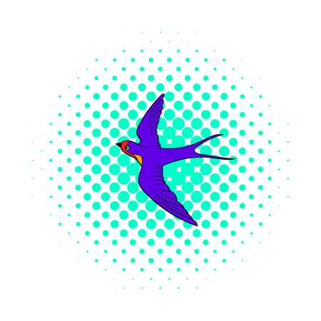 Swallow icon in comics style on dotted background. Spring bird symbol Stock Photo