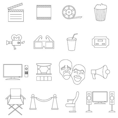 Cinema icons set in thin line style isolated on white background Standard-Bild