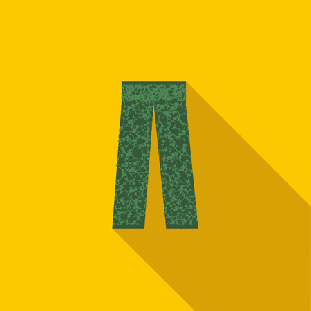 Camouflage trousers icon in flat style with long shadow