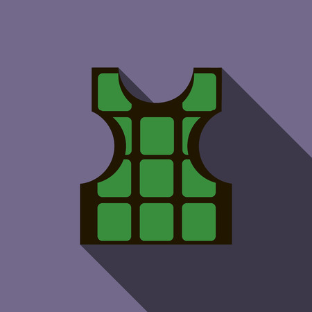 Green bulletproof vest icon in flat style with long shadow Stockfoto