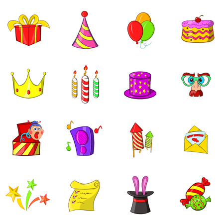 Birthday icons set in hand-drawn style isolated on white background Stock Photo