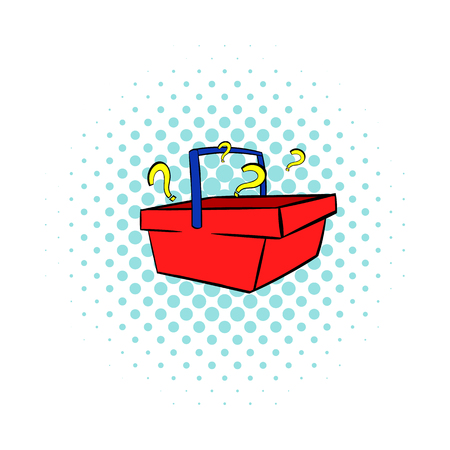 Question marks in shopping basket icon in comics style isolated on white background