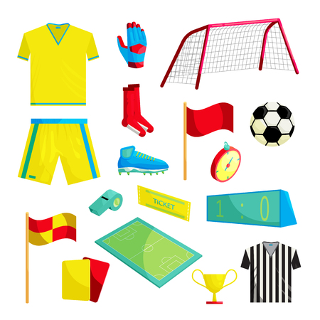 Soccer Icons set in cartoon style isolated on white background Stock Photo