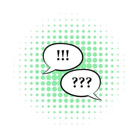 Question and exclamation marks icon in comics style isolated on white background Stock Photo