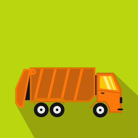 Garbage truck icon in flat style with long shadow. Waste and sanitation symbol
