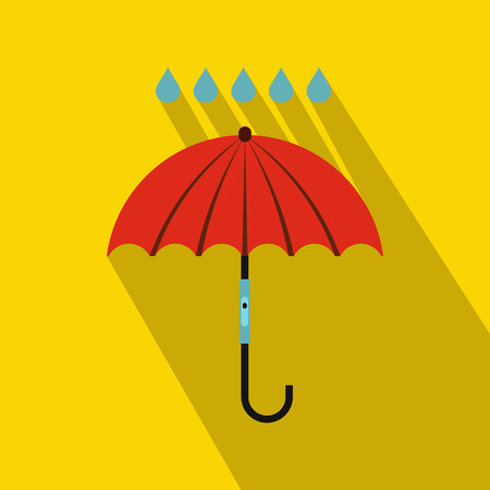 Red umbrella and rain drops icon in flat style on a yellow background Stockfoto