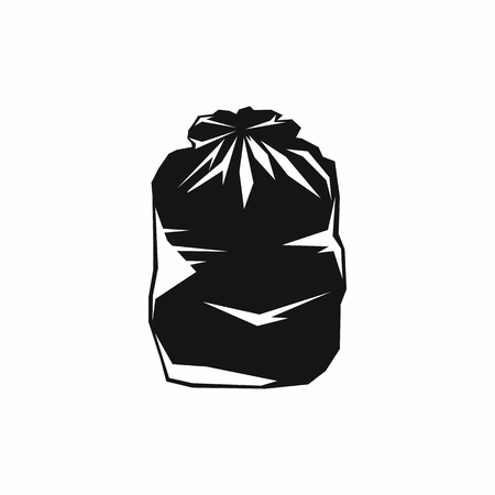 Black trash bag icon in simple style isolated on white background Stock Photo - 105793514