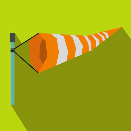 Windsock icon in flat style on a green background