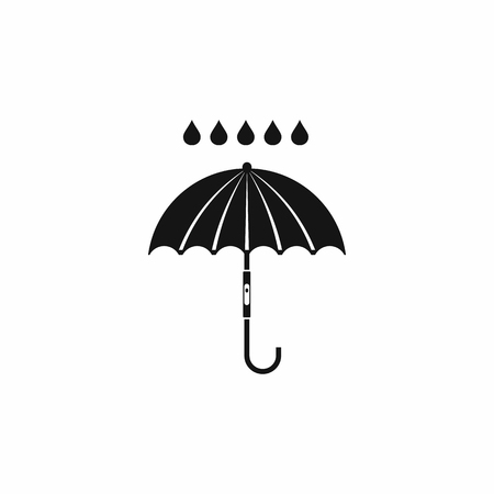 Umbrella and rain drops icon in simple style isolated on white background Stockfoto