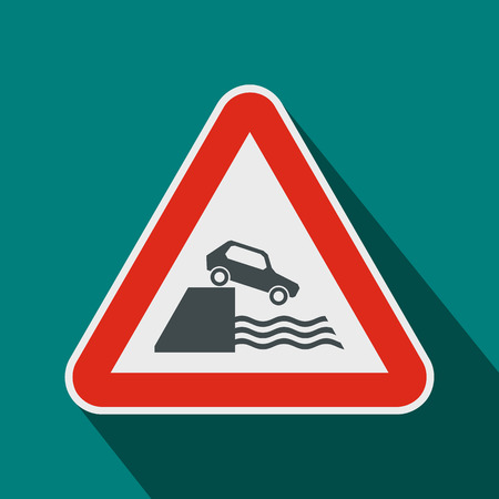 Riverbank traffic sign icon in flat style on a blue background 写真素材