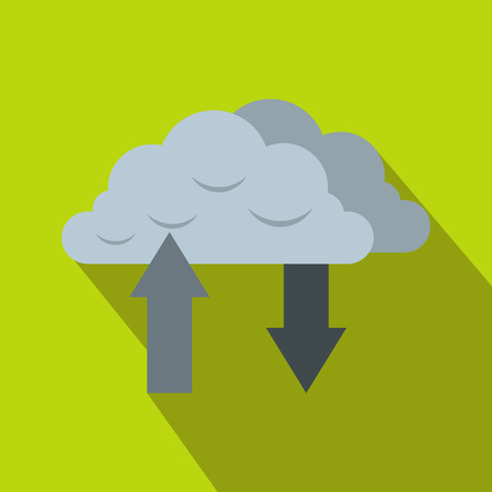Clouds with arrows icon in flat style on a green background