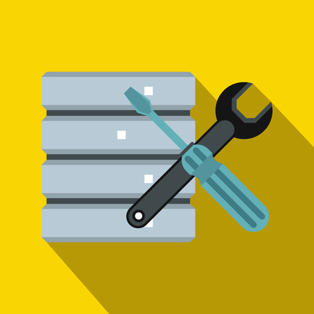 Database with screwdriverl and spanner icon in flat style on a yellow background Stock Photo