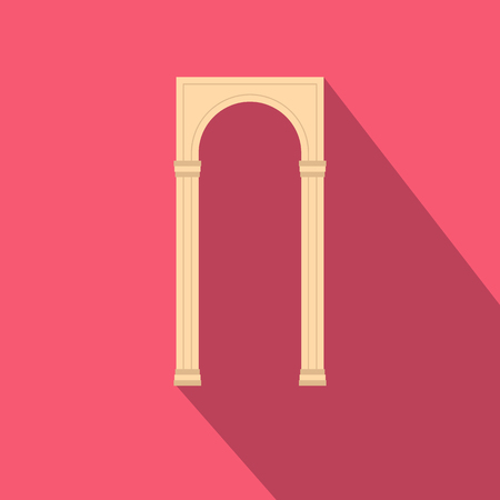 Rectangular arch icon in flat style with long shadow. Construction and interiors symbol Standard-Bild - 105794736