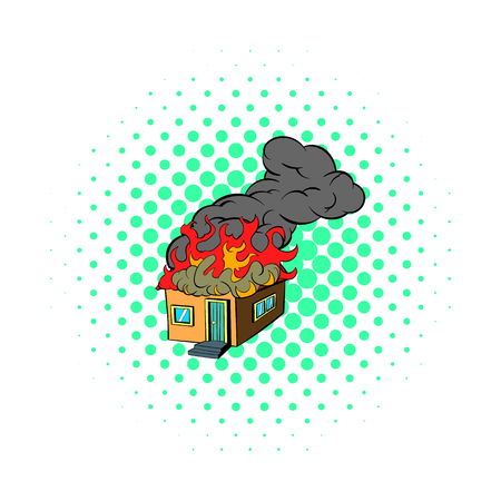 House on fire icon, comics style Imagens
