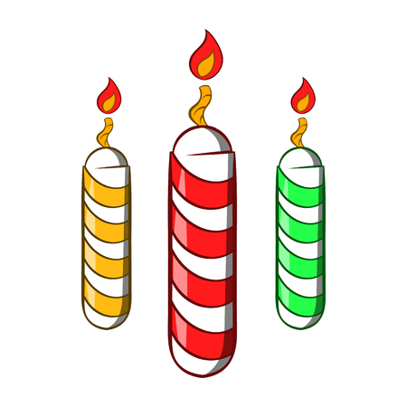 Festive candles icon in cartoon style isolated on white background. Holiday symbol Banque d'images
