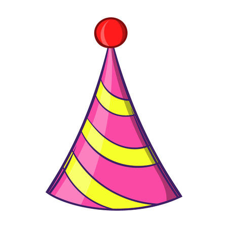 Party hat icon in cartoon style isolated on white background. Holiday symbol Stock Photo