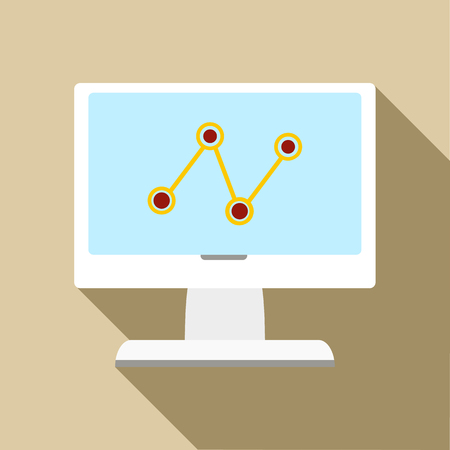 Computer monitor with business graph icon in flat style on a beige background Фото со стока