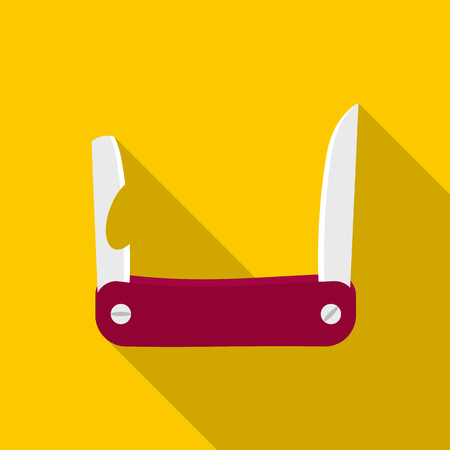 Pocket knife with lots of tools icon in flat style on a yellow background Reklamní fotografie