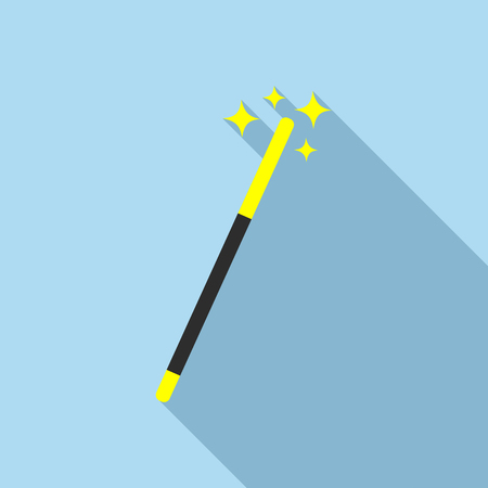Magic wand icon in flat style on a light blue background