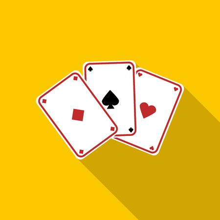 Three aces, playing cards icon in flat style on a yellow background