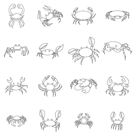 Crab icons set in outline style isolated on white background