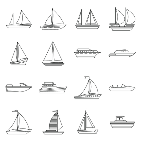 Boat and ship icons set in outline style for any design Banque d'images - 105861784