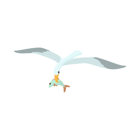 Seagull is carrying a fish in a beak icon in cartoon style on a white background