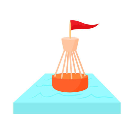 Nautical direction buoy with flag icon in cartoon style on a white background