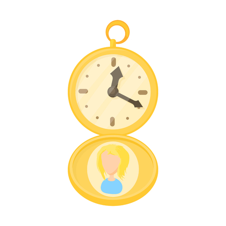 Golden pocket watch icon in cartoon style on a white background Stock Photo