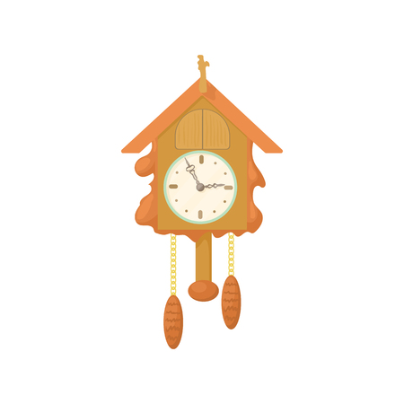 Vintage wooden cuckoo clock icon in cartoon style on a white background Stock Photo